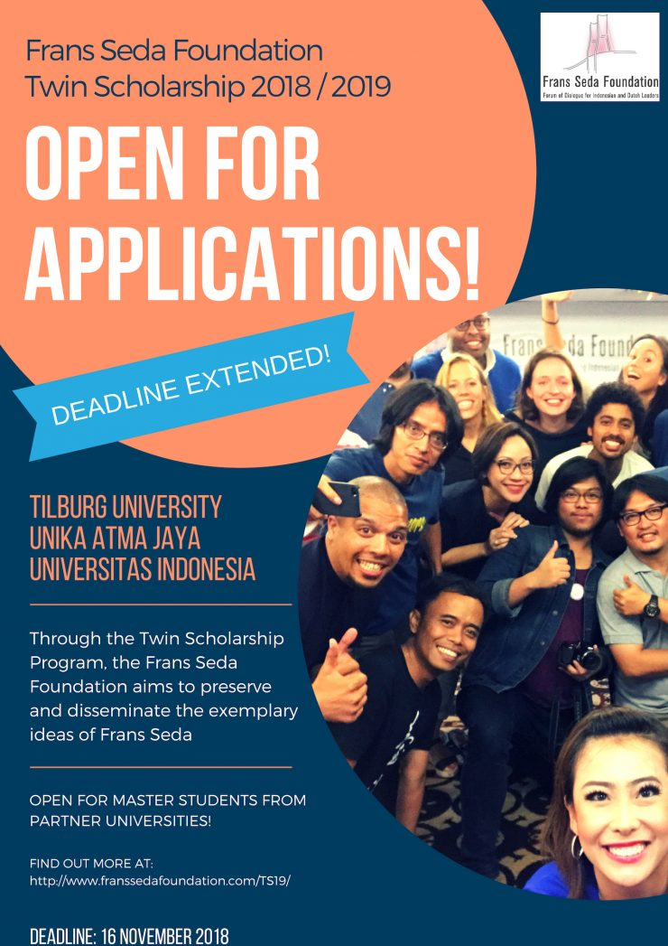 2019 Frans Seda Foundation Twin Scholarship - Deadline Extended to 16 November